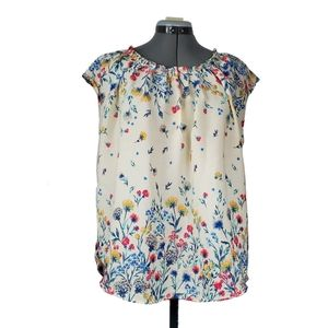 Floral cap sleeve keyhole blouse